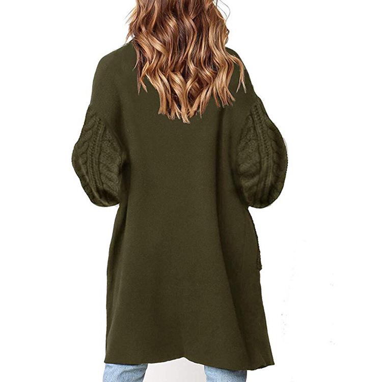 Cardigan en tricot Sexy pour femmes, couleur unie, col en v, manches lanternes, pull, vente en gros, 2020