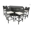 Green weatherproof outdoor pe rattan tall bar table and chairs
