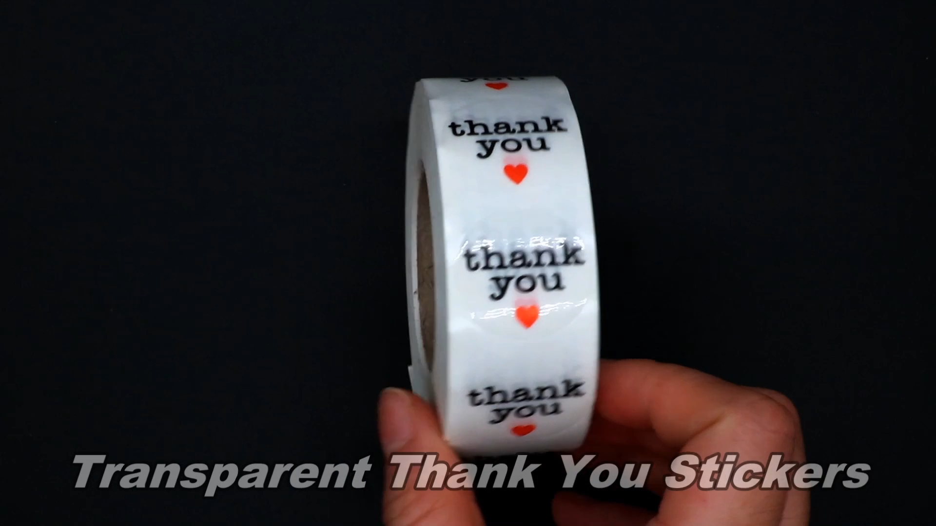 Hybsk transparent warm little thank you sticker with small Love adhesive labels 1000 pcs per roll