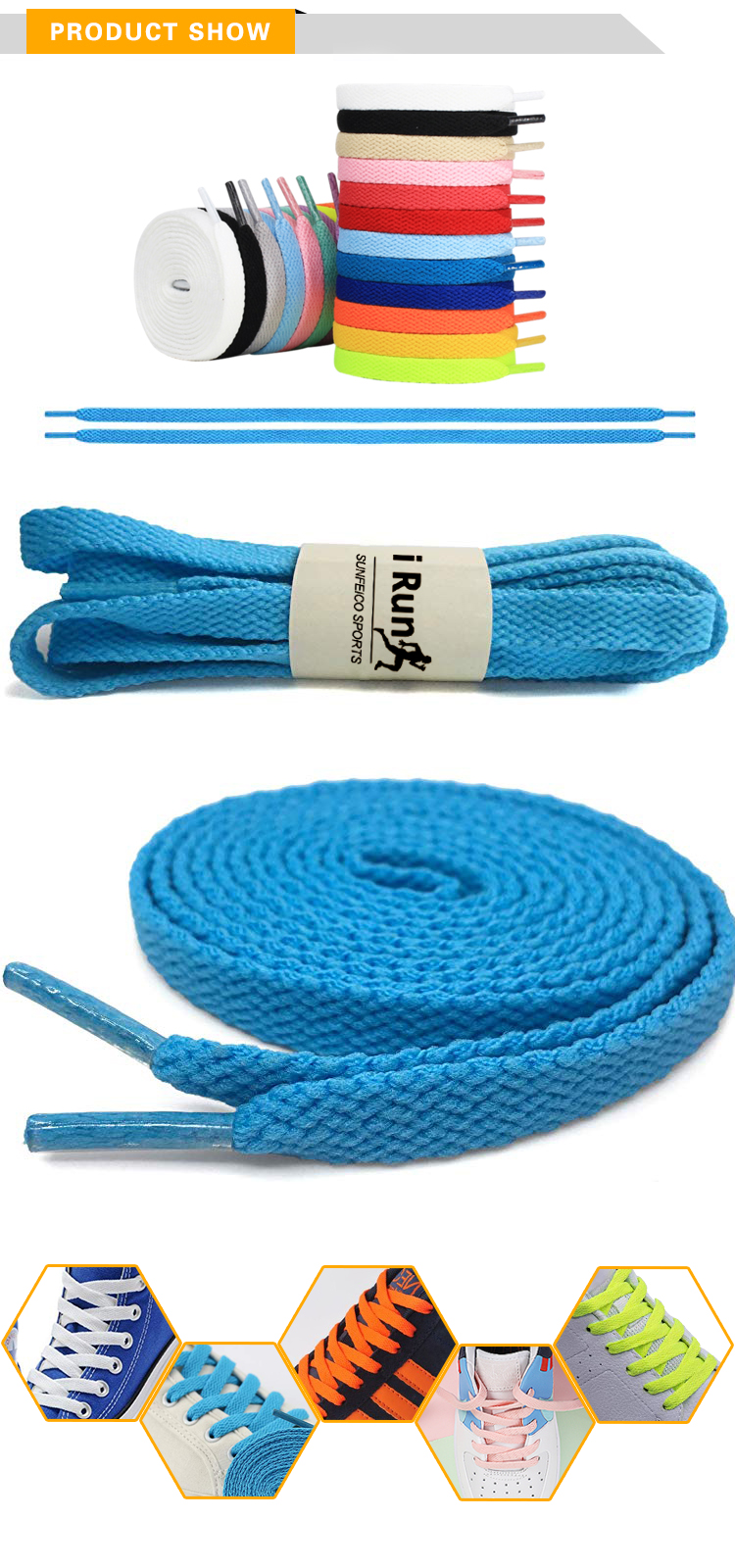 iRun High Quality Polyester Flat Sneaker Shoe Laces 8MM Flat Shoelaces 57 Colors Accept Custom Fitness Shoelaces