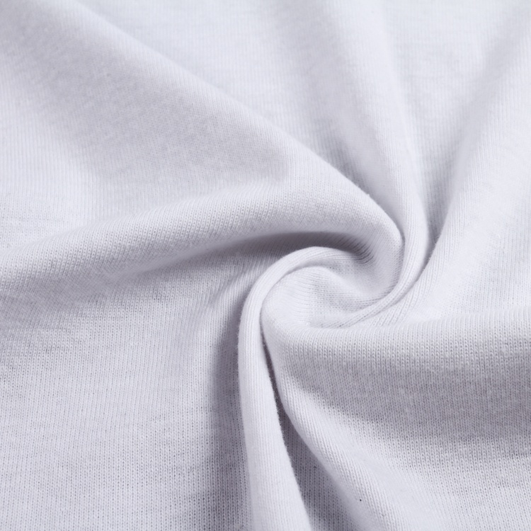 white color plain weft 100% <strong>cotton</strong> <strong>interlock</strong> <strong>knitted</strong> fabric for women suit garment