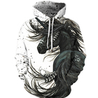 black horse cool 3D Print custom graphic pullover men's hoodies sweatshirts