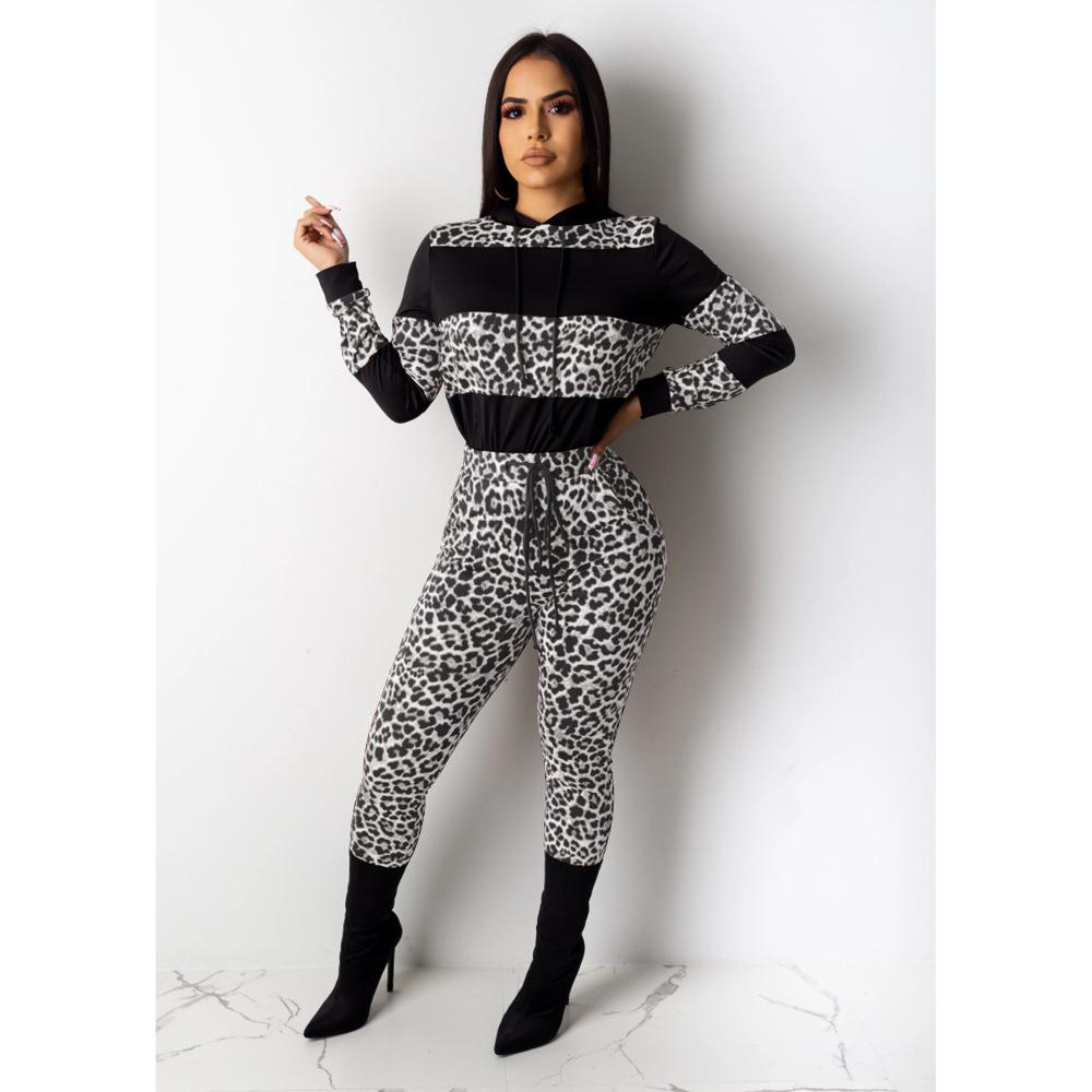 Леопардовый лоскутный комплект из двух предметов; Спортивный костюм для женщин; топ с капюшоном и длинными рукавами + обтягивающие брюки на ...(Китай)