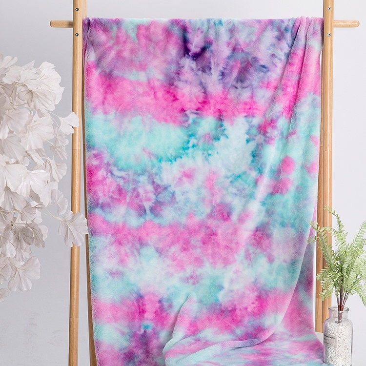 Super soft tie dyed plush minky for winter