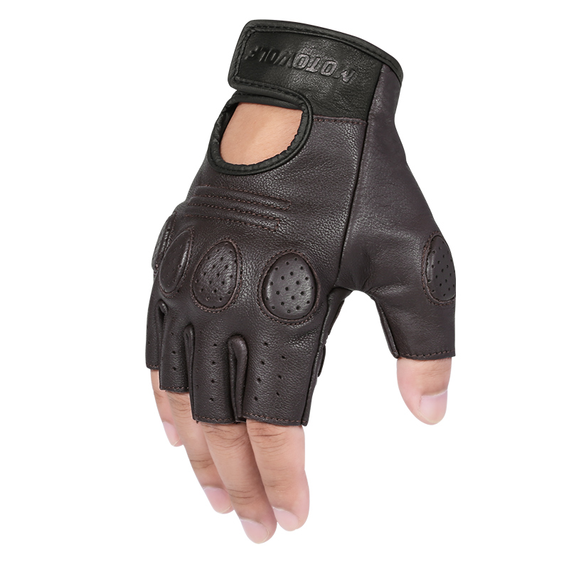 MOTOWOLF Custom Bike Sheepskin Gloves Leather Motorrad <strong>Motorcycle</strong> <strong>Riding</strong> Gloves Half finger