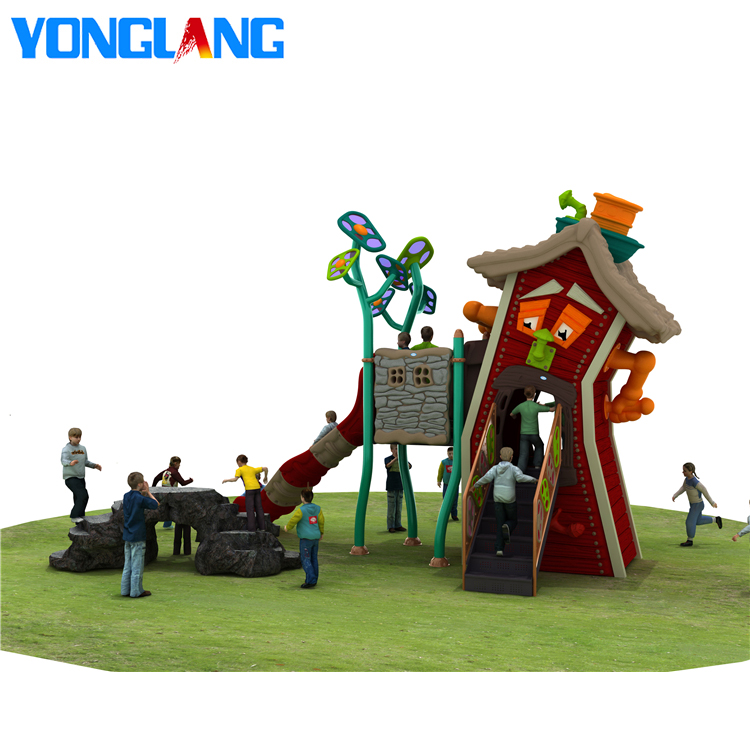 YL-W003 Latest Novel Design Children <strong>Toys</strong> Play House <strong>Outdoor</strong> Wood Playground <strong>Kids</strong> Outside Plastic Playground
