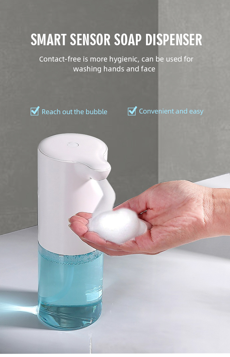 Eco-friendly plastic automatic sensor liquid hand soap foam dispenser for home and bath