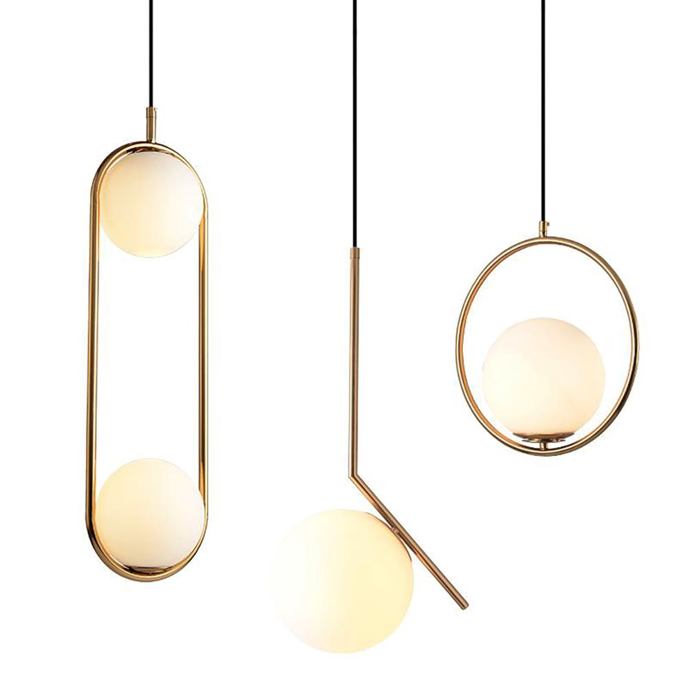 Loft Industrial Decor Nordic Glass Ball Pendant Lights Vintage Hoop Gold Modern LED Hanging <strong>Lamp</strong>