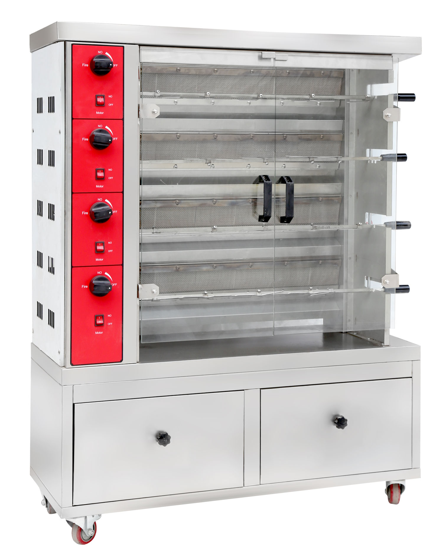 Quality Stainless Steel Vertical Gas Chicken Rotisserie With 3-Layer Rotisserie Oven For Chickens