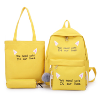 New Fashion Color Wholesale Girls Canvas Book Bag 4 pcs Sets Lightweight Canvas School Backpack Set