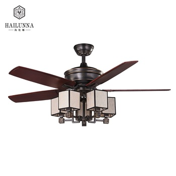 Classic Black Gold Remote Control Solid Wood LED Ceiling Fan With Light