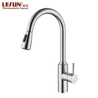 LESUN Amazon top selling 304 Stainless Steel Pull Out Water Sink Stretching Kitchen Faucet Multifunction Press Faucet/Tap
