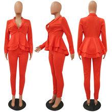 Женский офисный костюм из двух предметов, элегантный пиджак с глубоким v-образным вырезом и оборками и брюки, одежда для работы, 2019(Китай)
