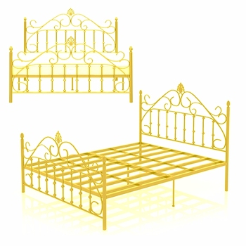 low price stock beds Hot sell bedroom double metal bed frame queen size iron bed of golden color
