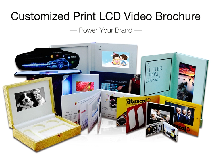 hot sale fashion design printing video player 4.3 inch lcd display pamphlet video brochure business greeting card