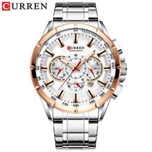Наручные часы CURREN, мужские водонепроницаемые армейские часы с секундомером из нержавеющей стали, спортивные часы 8363(Китай)