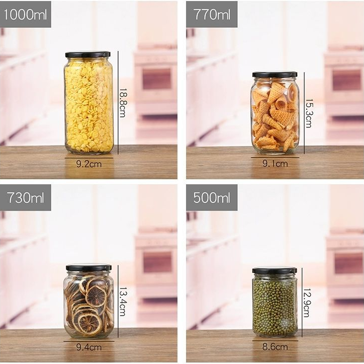 30ml-1000ml empty round hermetic pickle food jam glass storage jar with lug lid