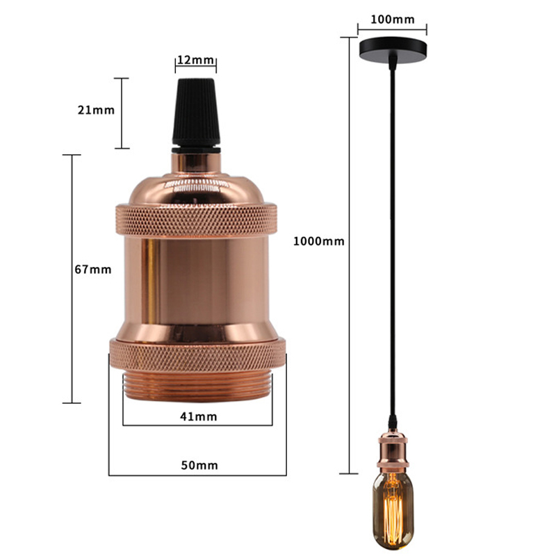 High Quality Colorful Sizes Retro E27 Pendant Lamp Socket Antique Brass Switched Lamp Holder