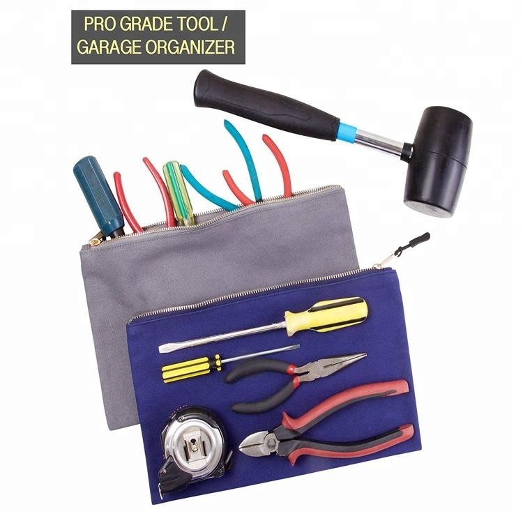 Robuste multi-usages pas cher fermeture à glissière organisateur pochette à outils en toile sac de rangement