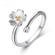 Dylam S925 Silver Plated Delicate Daisy รูปร่างดอกไม้ Lucky สำหรับเธอ Ajustable แหวนเครื่องประดับ