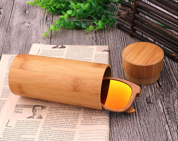 Small MOQ Degradable wood material custom logo round bamboo sunglasses glasses case