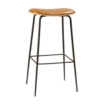 Industrial Black Metal Table Faux Leather Frame Bar Stool