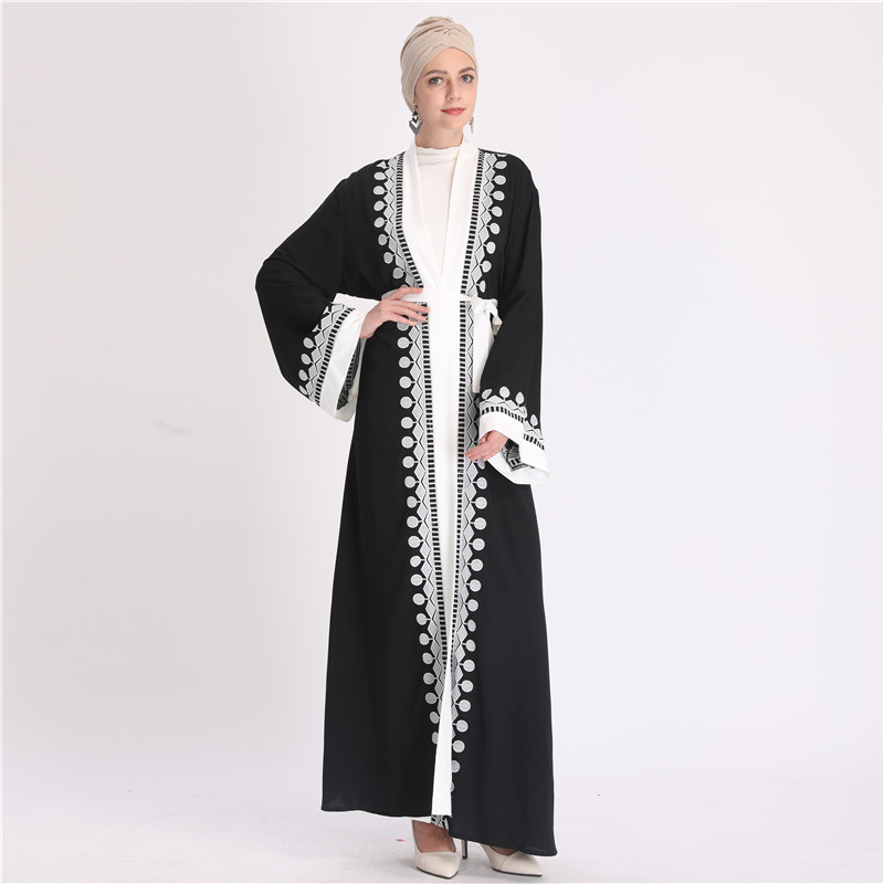 2020 High quality dubai arab women open long dress cardigan kimono muslim abaya