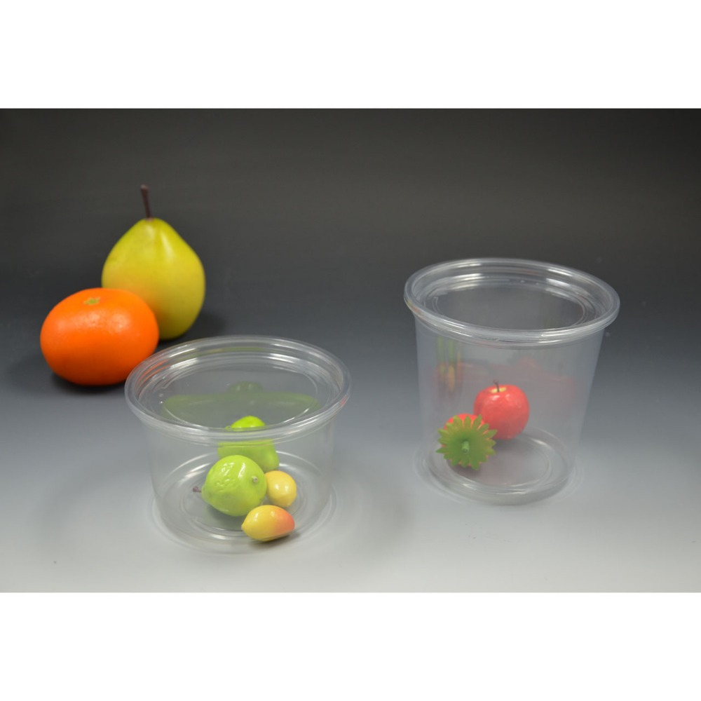 Customized Clear OEM Plastic Fruit Salad Container Disposable Salad Container With Dome Lid