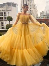 Женское вечернее платье со смайликом, желтое бальное платье с открытыми плечами и буффами на рукавах, из Мягкого Тюля(Китай)