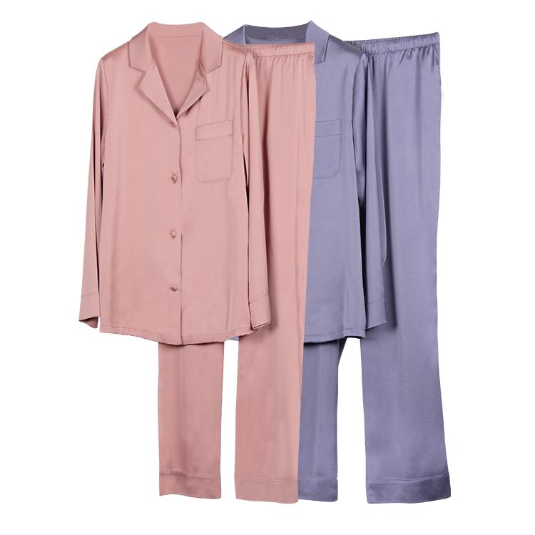 Kualitas Tinggi 2019 Hot Sale 2 Warna Pijama Set Lengan Panjang Satin Fashion Sutra Piyama Wanita