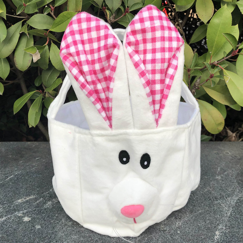 Cute Bunny Plush Easter basket <strong>Rabbit</strong> face printed Various Colors Bunny Bag for Easter Day Easter Bunny Bucket