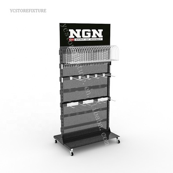 Durable double-sided metal hat display rack/Headwear fixtures for stores