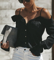 European and American suspenders V-neck top ladies off-the-shoulder long-sleeved solid color shirt