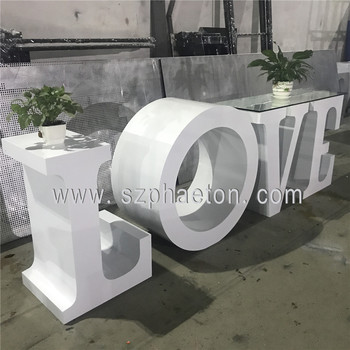 Wedding LOVE letter table, tempered glass top BABY letter table, events & party supplier LOVE letter table for sale