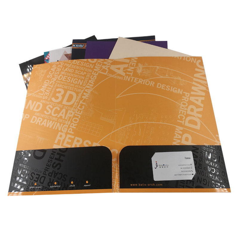 custom printing a4 size company document paper presentation folders pocket office business cardboard file folder