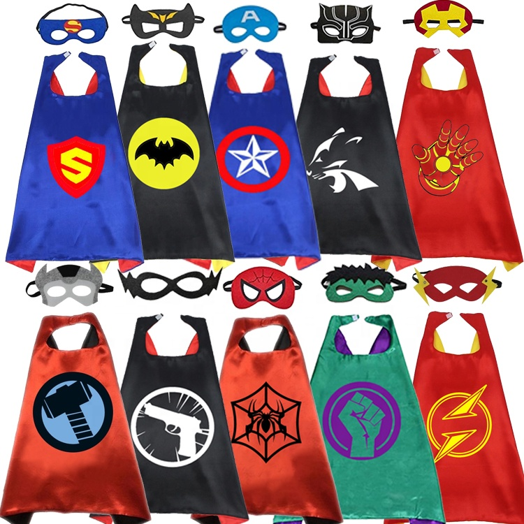 Amazon Hot Selling new 11 styles Halloween cosplay party clothes <strong>superhero</strong> <strong>capes</strong> and masks for <strong>kids</strong>