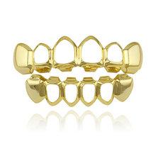 Горячая хип хоп золотые зубы Grillz верхние и нижние грили зубной рта Панк зубы шапки Косплей вечерние зуб Rapper ювелирные изделия подарок(Китай)