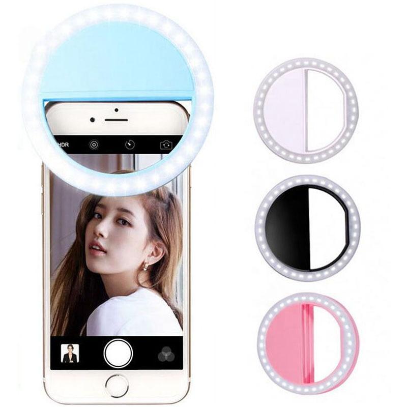 רשת שידור נייד פלאש מצלמה Dimmable מיני טבעת אור איפור led selfie טבעת אור