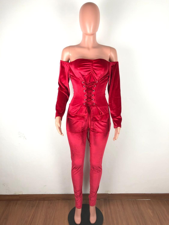 Элегантный бархатный комбинезон с открытыми плечами, женский комбинезон с длинным рукавом на шнуровке, Облегающий комбинезон, сексуальный ...(Китай)