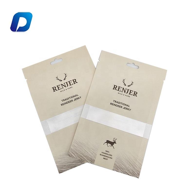 Custom printing resealable kraft paper snack packaging beef jerky bags