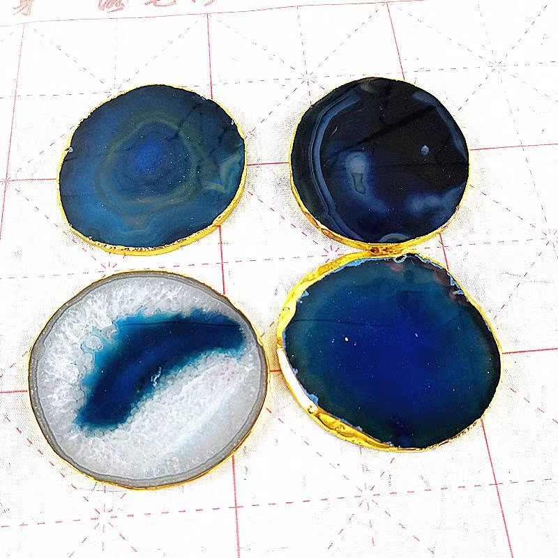 Wholesale price colorful Coaster Slices Natural artistic Sliced Wooden Agate Coaster