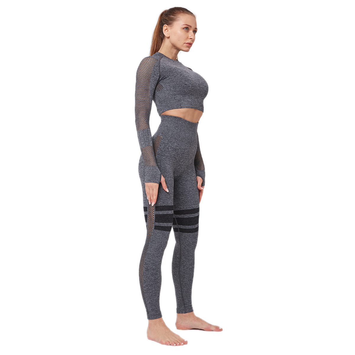 Outstanding Quality Women Sports Crop Top Long Sleeve Yoga Clothes Set With Logo
