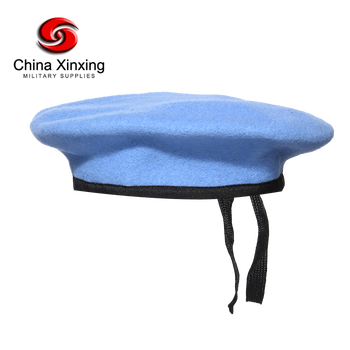 Xinxing 100% wool soft feeling high quality military armny beret color UN blue for UN troops BR03