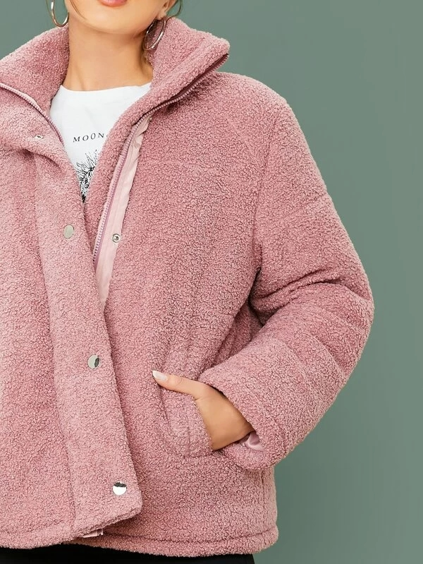 KY pink 100%polyester Single Breasted Pocket Detail Teddy Coat oversized jacket