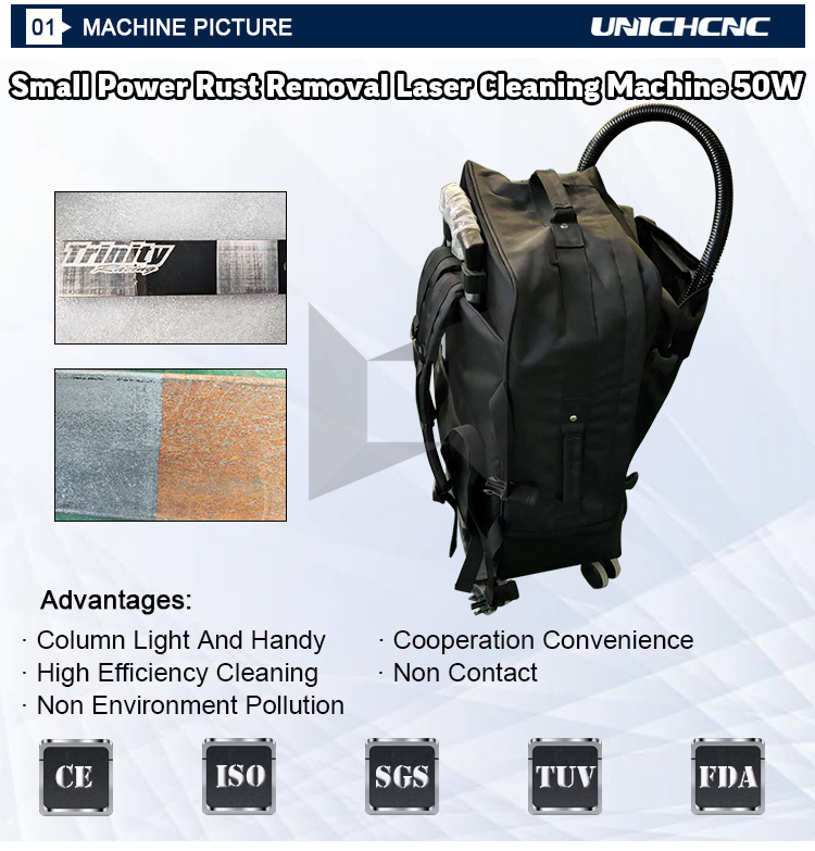 50w backpack max raycus laser cleaning of metal stain/ rust/ coating materials/ paints laser rust removal machine for sale