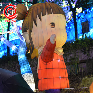 popular chinese party decoration led fabric cartoon little girl lanterns for festival