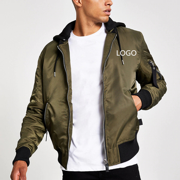 2020 Army green custom logo latest design jacket winter men hooded biker motorcycle bomber puffer outdoor casual jackets for men