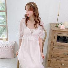 Летние Модальные женские длинные ночные рубашки с коротким рукавом, винтажное кружевное платье принцессы, мягкая газовая сексуальная одеж...(Китай)