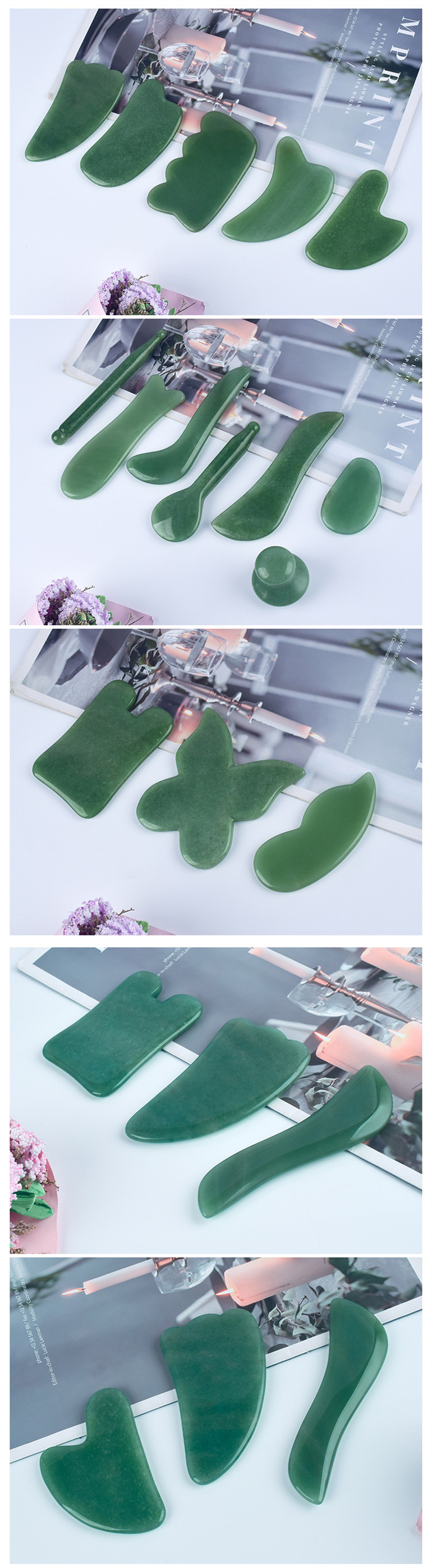 Factory Wholesale Multiple Designs Natural Pink Crystal Jade Scraping Board for Full Body Beauty Massage