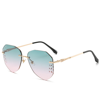 new rhinestones rimless metal sunglasses aviation shape flat lens sunglass manufacturer wholesale suppliers